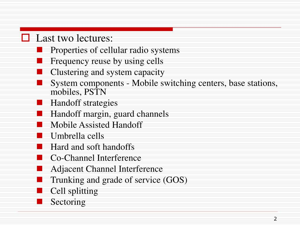 Last two lectures: