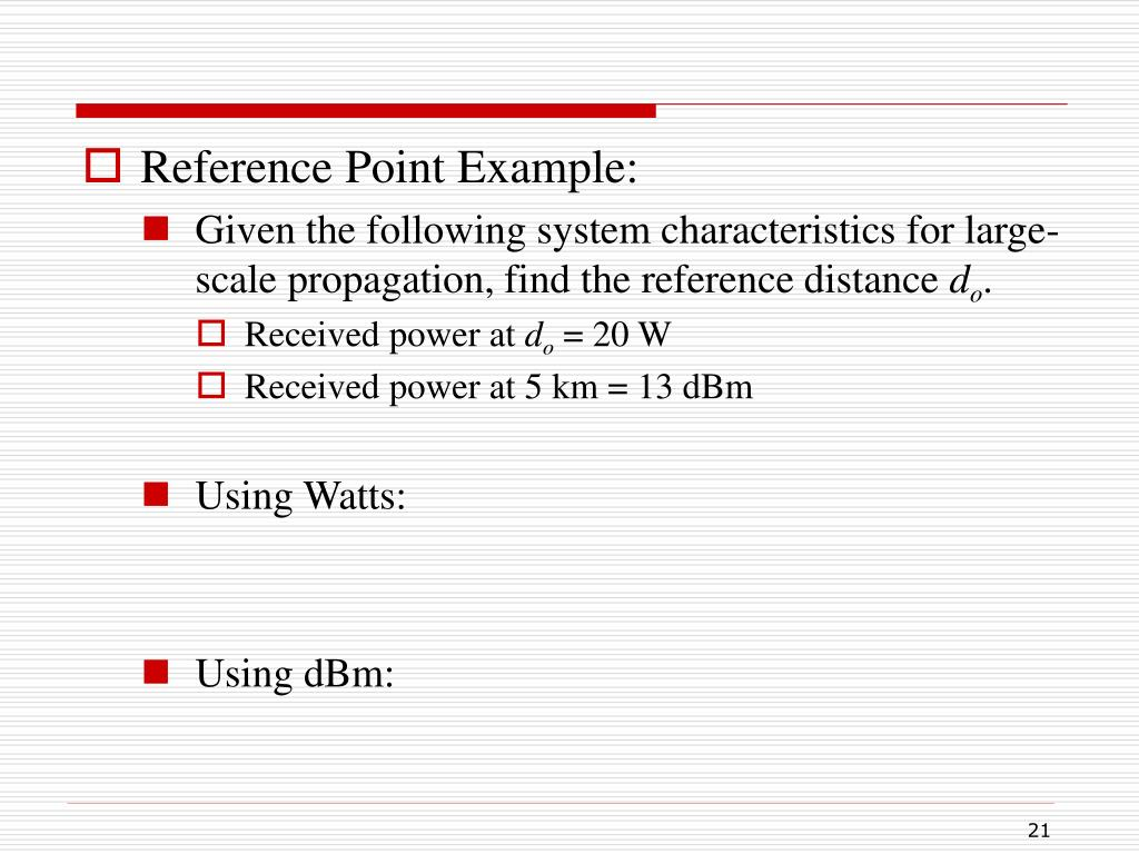 Reference Point Example: