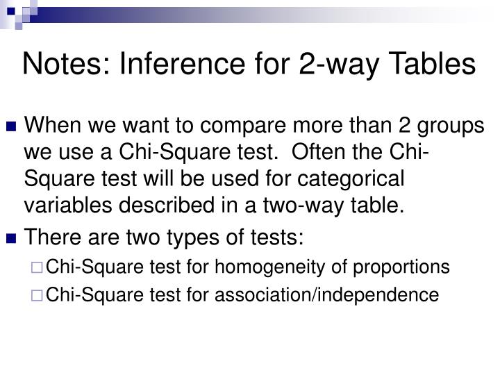 Notes: Inference for 2-way Tables
