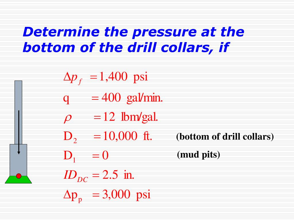 Determine the pressure at the bottom of the drill collars, if