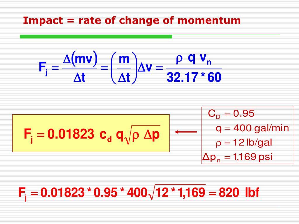 Impact = rate of change of momentum
