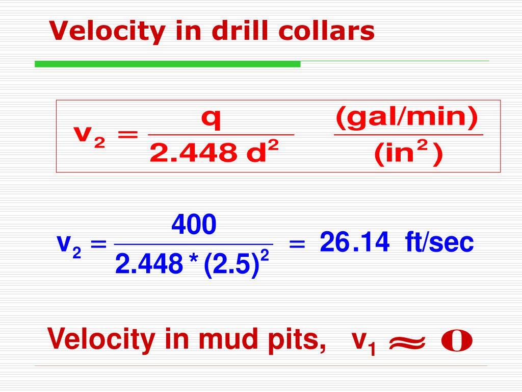 Velocity in drill collars