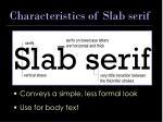 characteristics of slab serif