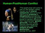 human posthuman conflict