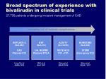 broad spectrum of experience with bivalirudin in clinical trials