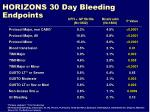 horizons 30 day bleeding endpoints