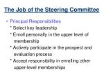 the job of the steering committee