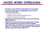 avoid word overloads