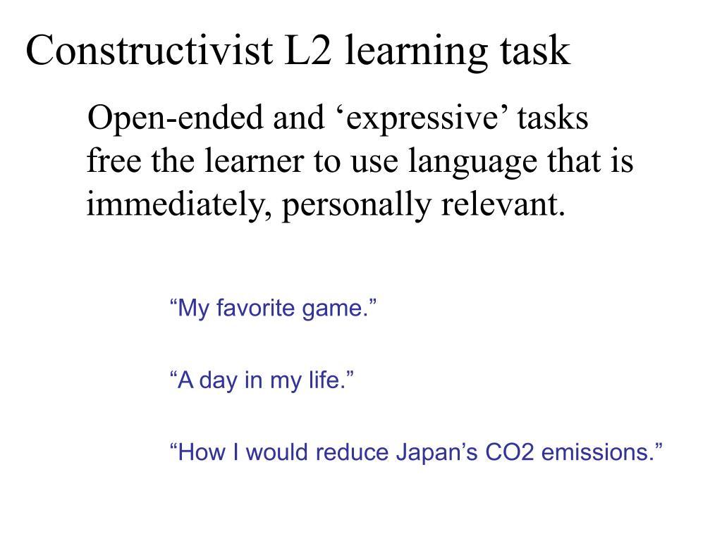 Constructivist L2 learning task