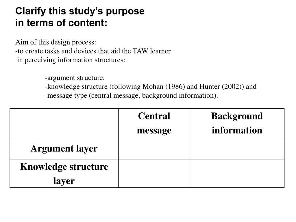 Clarify this study's purpose