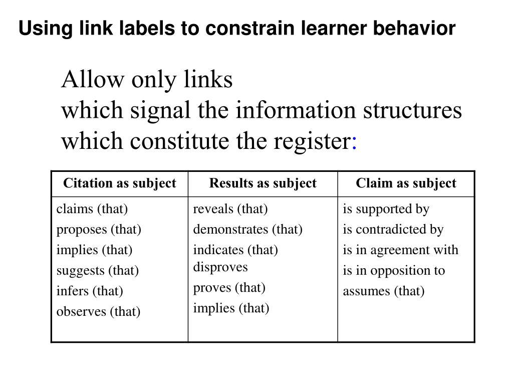 Using link labels to constrain learner behavior