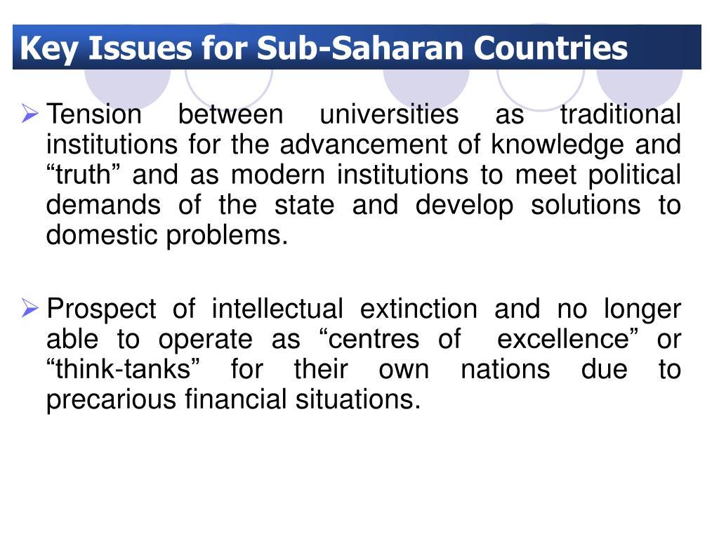 Key Issues for Sub-Saharan Countries