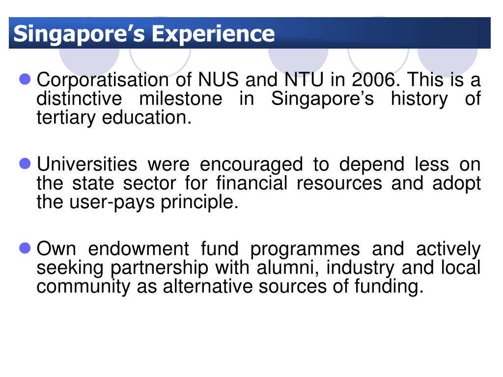 Singapore's Experience