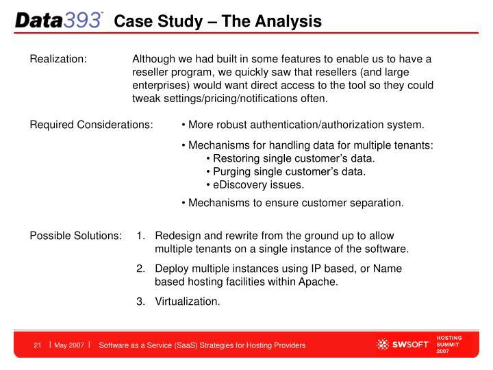Case Study – The Analysis