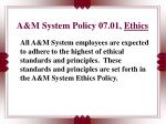 a m system policy 07 01 ethics