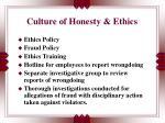culture of honesty ethics