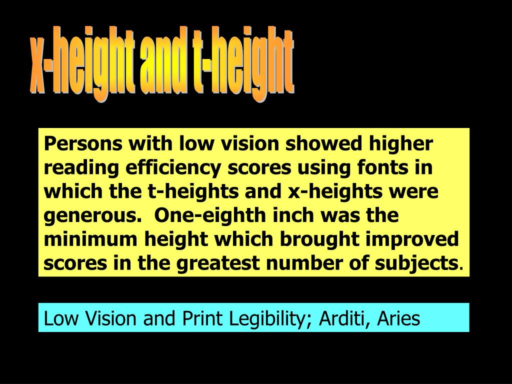 x-height and t-height