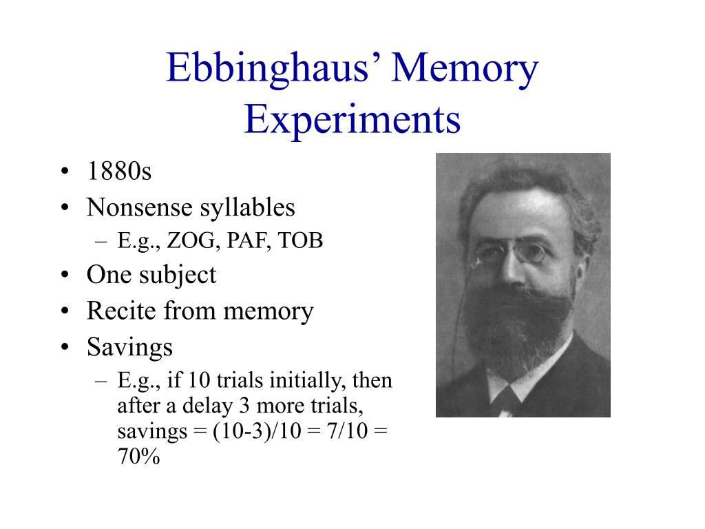 Ebbinghaus' Memory Experiments