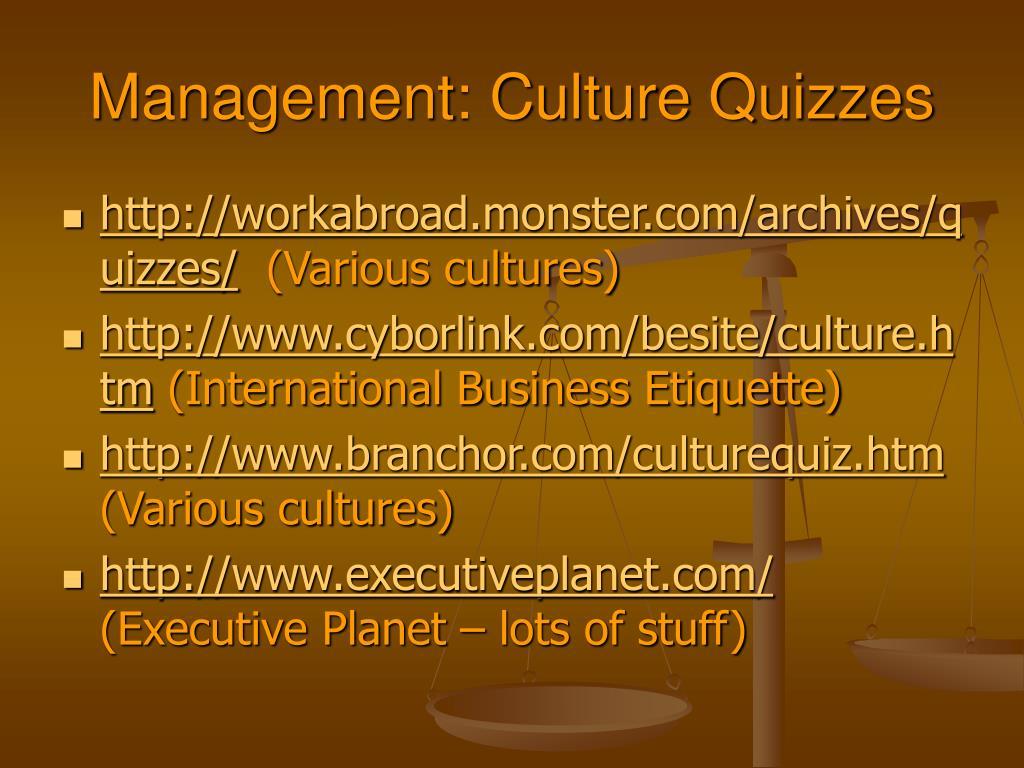 Management: Culture Quizzes