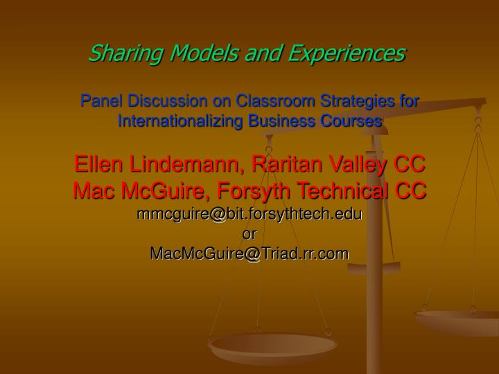 Sharing models and experiences