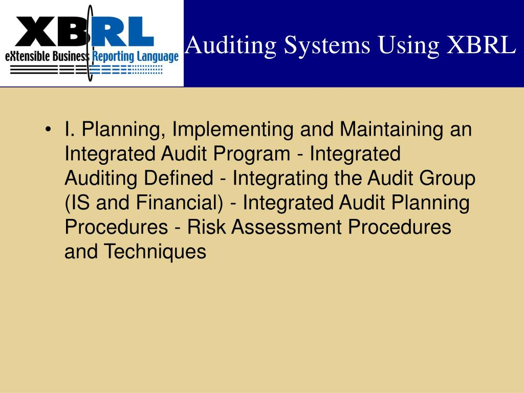 Auditing Systems Using XBRL