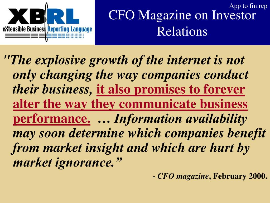 CFO Magazine on Investor Relations