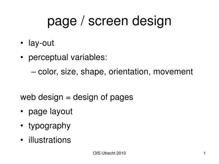 page screen design n.