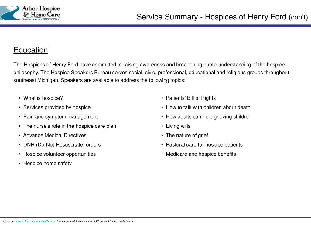 Service Summary - Hospices of Henry Ford
