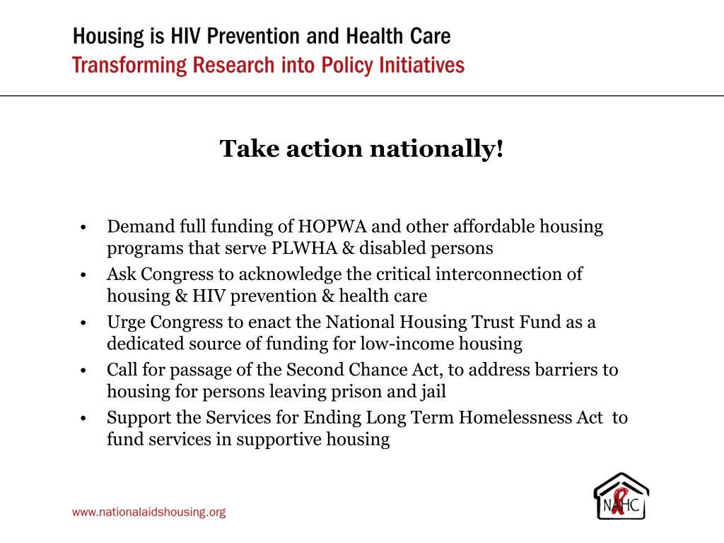 Take action nationally!
