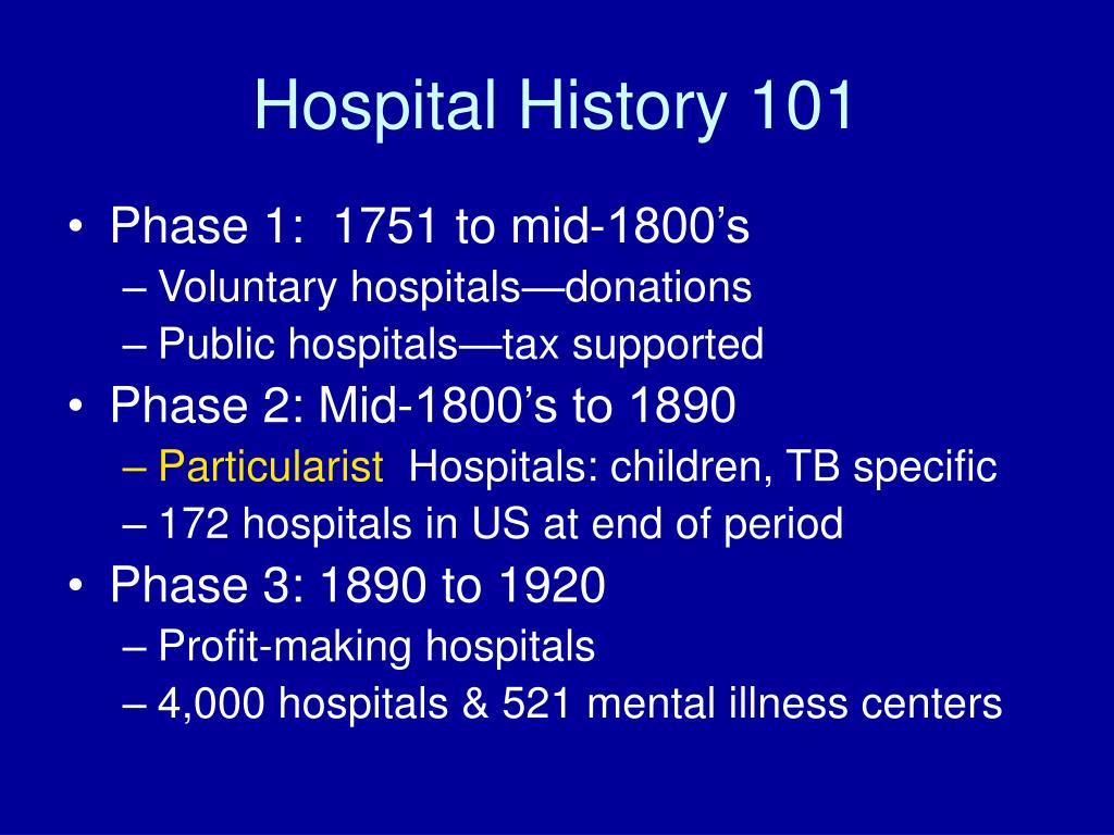 Hospital History 101