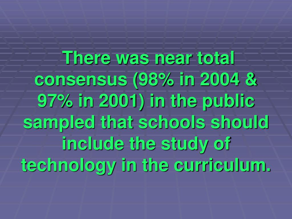 There was near total  consensus (98% in 2004 & 97% in 2001) in the public sampled that schools should include the study of technology in the curriculum.