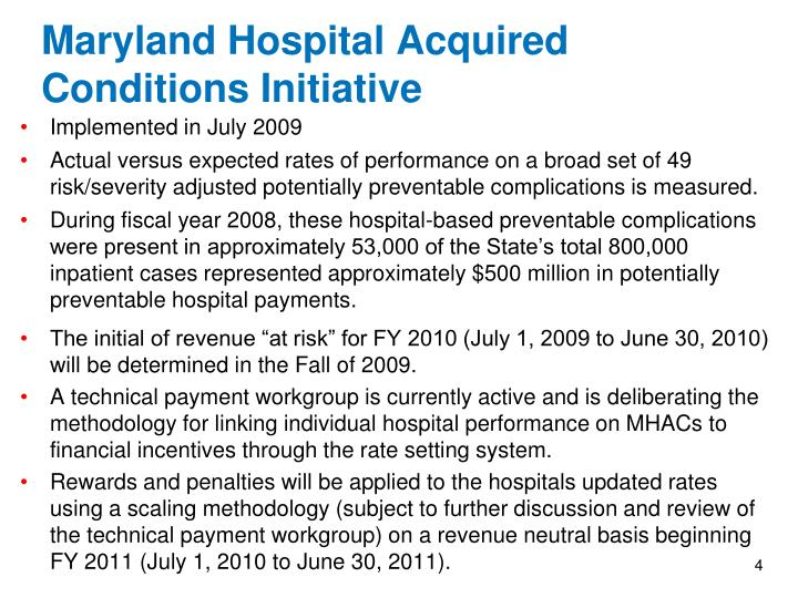 Maryland Hospital Acquired Conditions Initiative