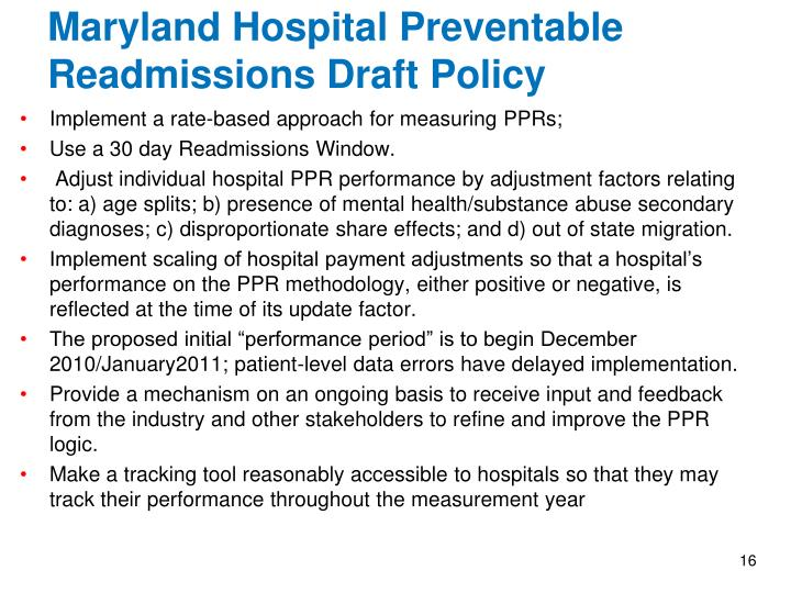 Maryland Hospital Preventable Readmissions Draft Policy