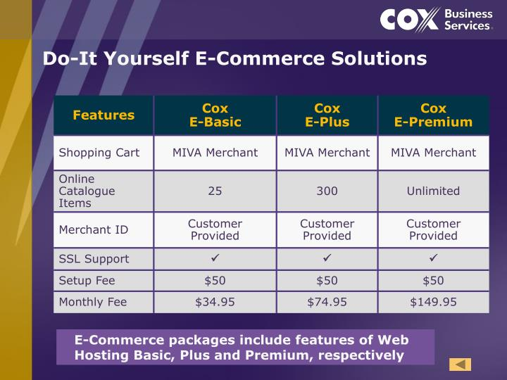 Do-It Yourself E-Commerce Solutions