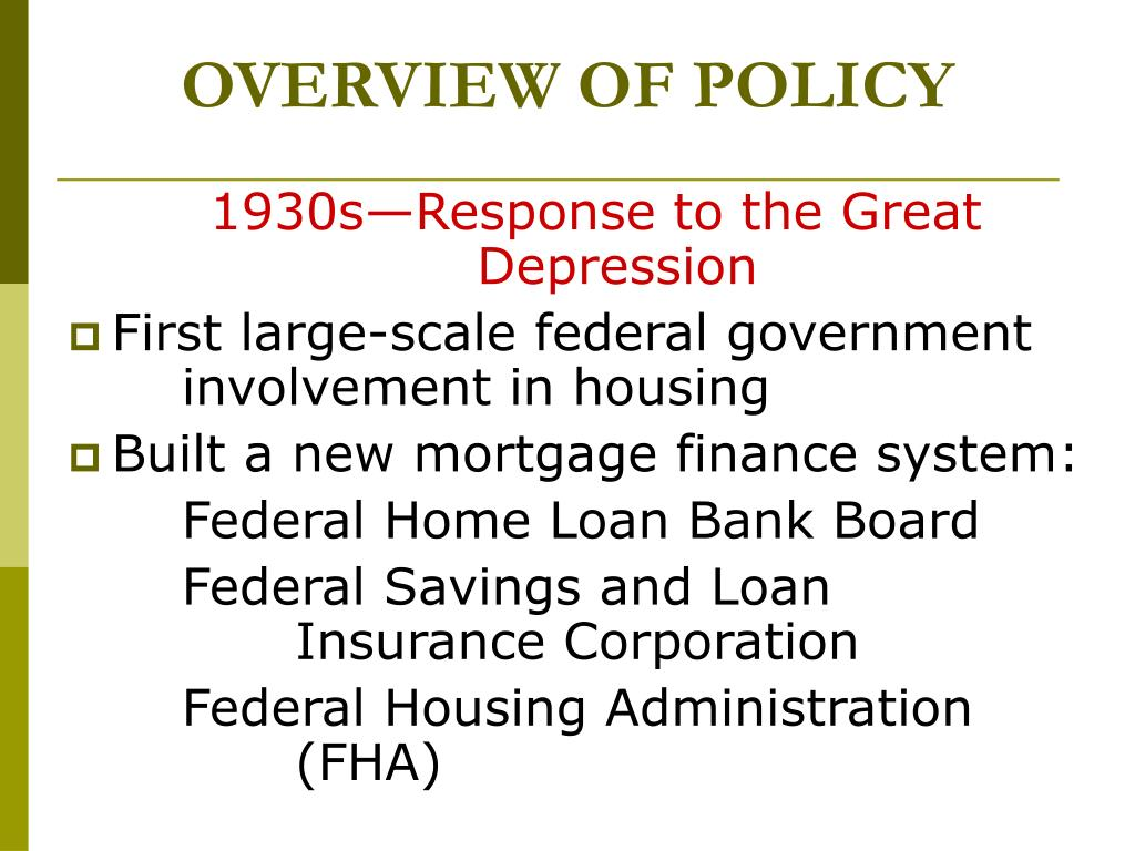 OVERVIEW OF POLICY