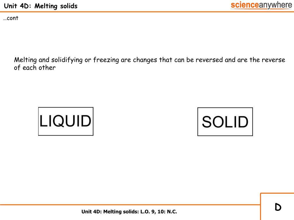 Unit 4D: Melting solids