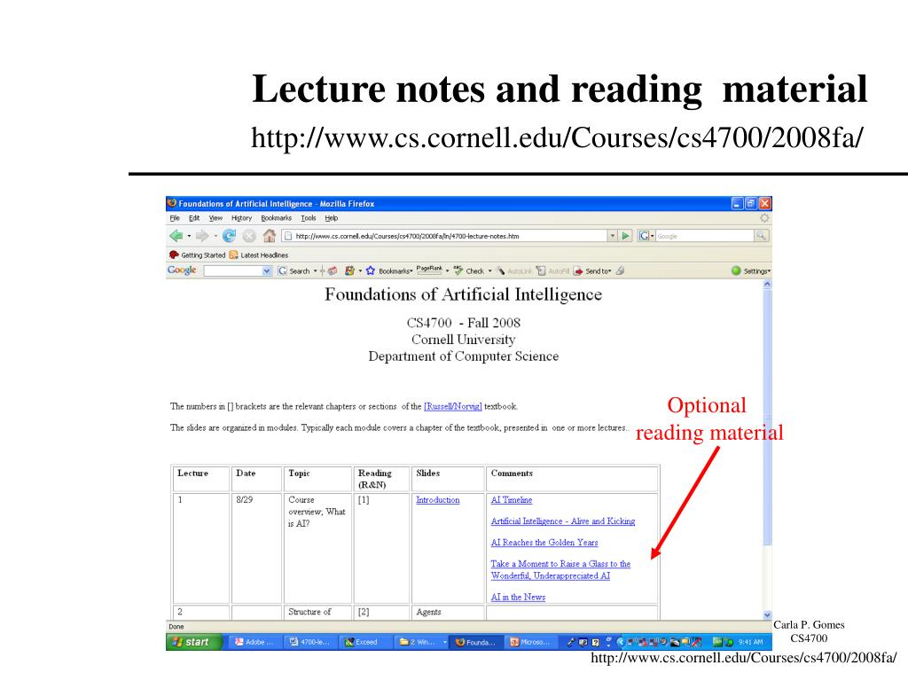 Lecture notes and reading  material