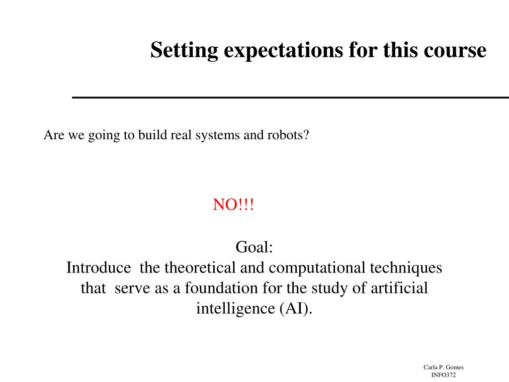Setting expectations for this course