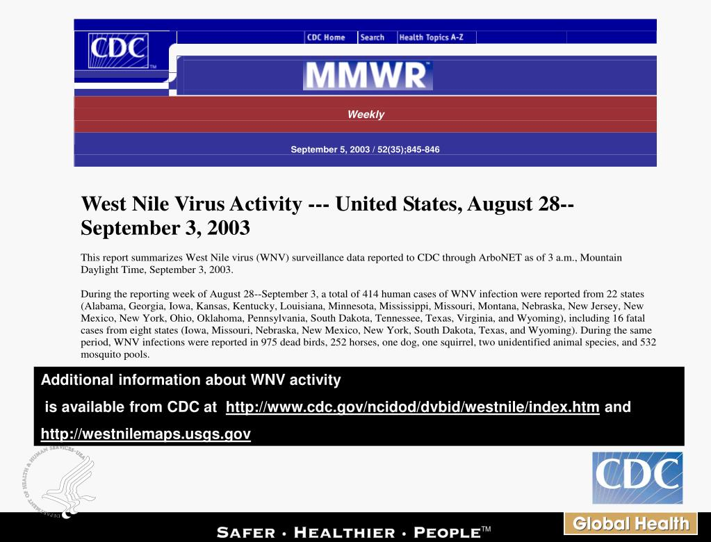 Additional information about WNV activity
