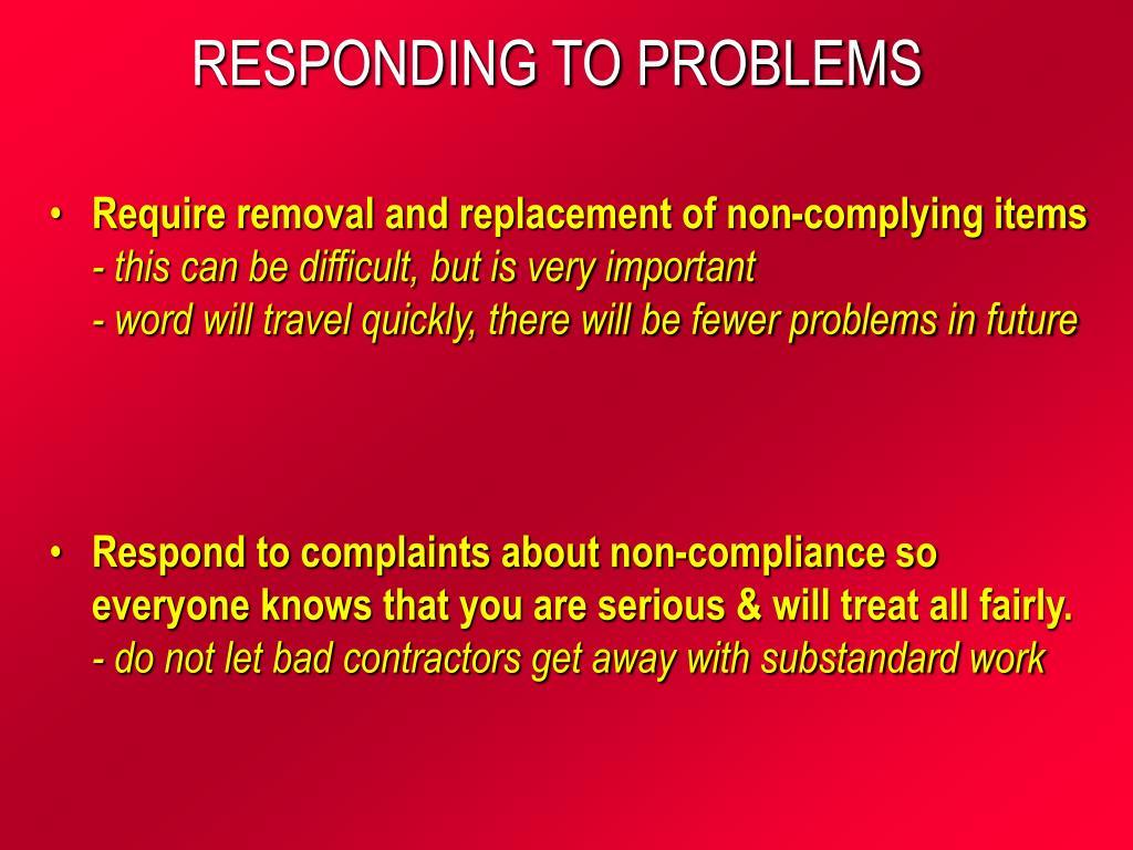 RESPONDING TO PROBLEMS
