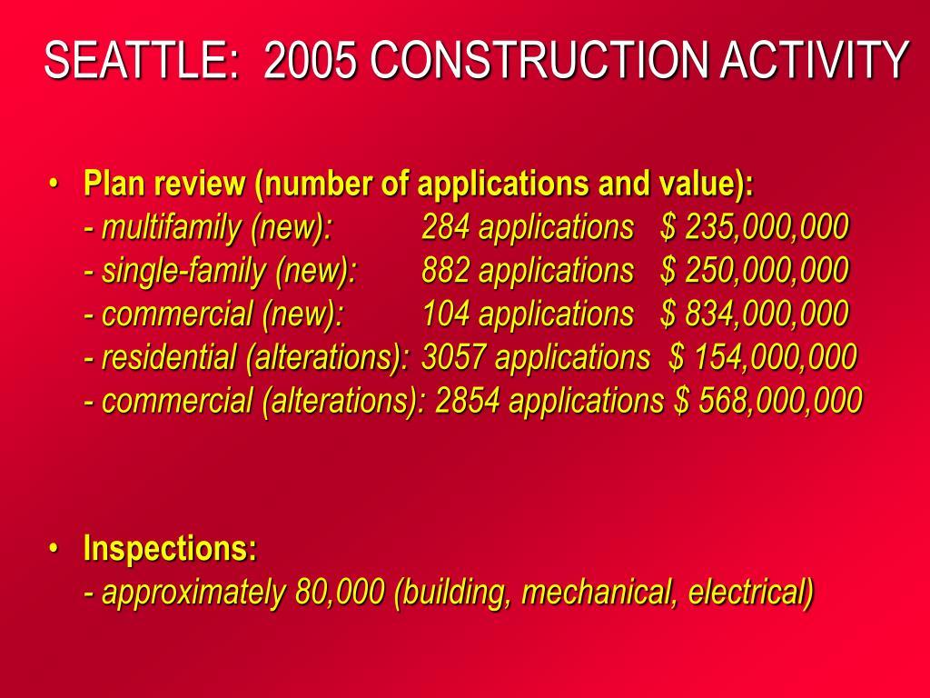 SEATTLE:  2005 CONSTRUCTION ACTIVITY