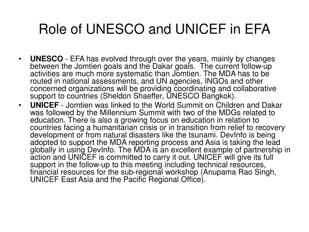 Role of UNESCO and UNICEF in EFA