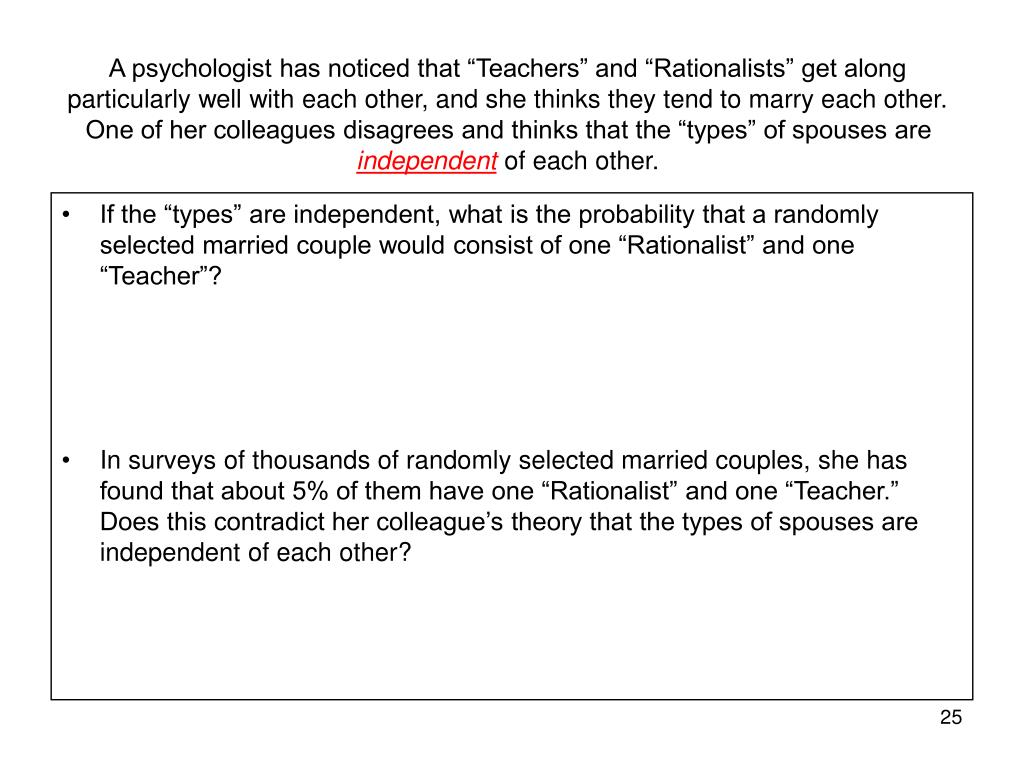 """A psychologist has noticed that """"Teachers"""" and """"Rationalists"""" get along particularly well with each other, and she thinks they tend to marry each other. One of her colleagues disagrees and thinks that the """"types"""" of spouses are"""