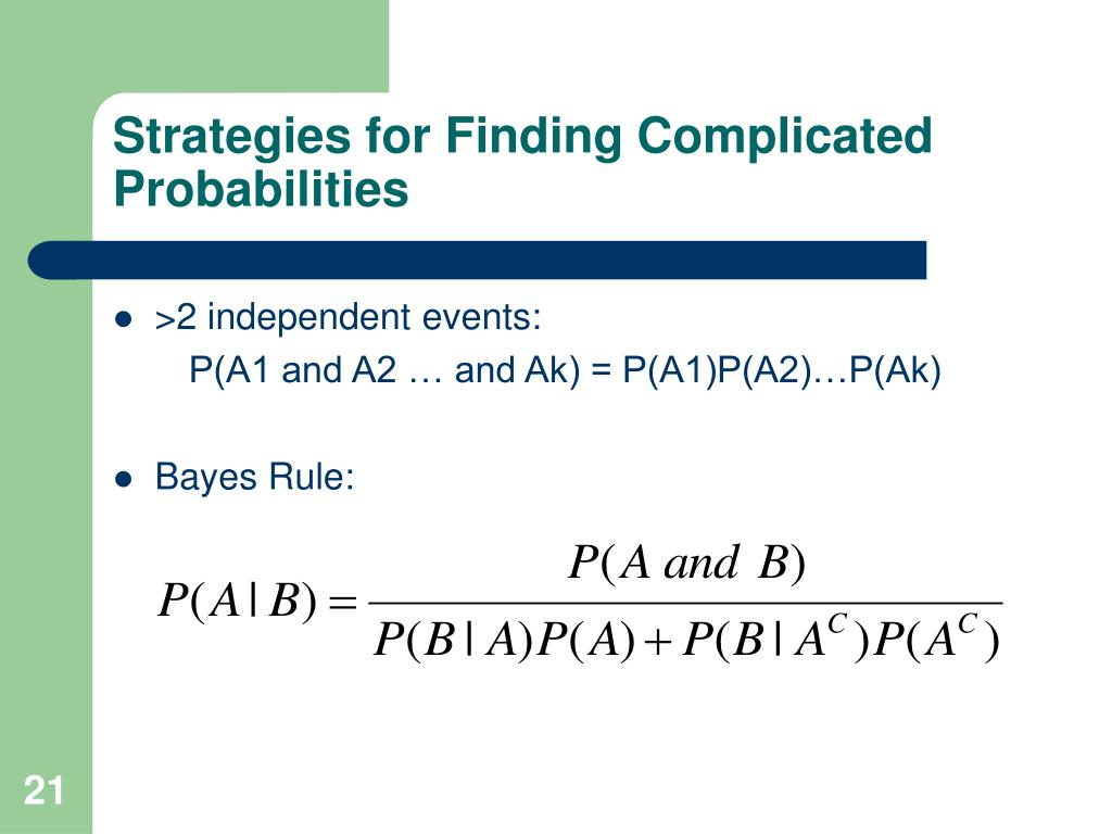 Strategies for Finding Complicated Probabilities