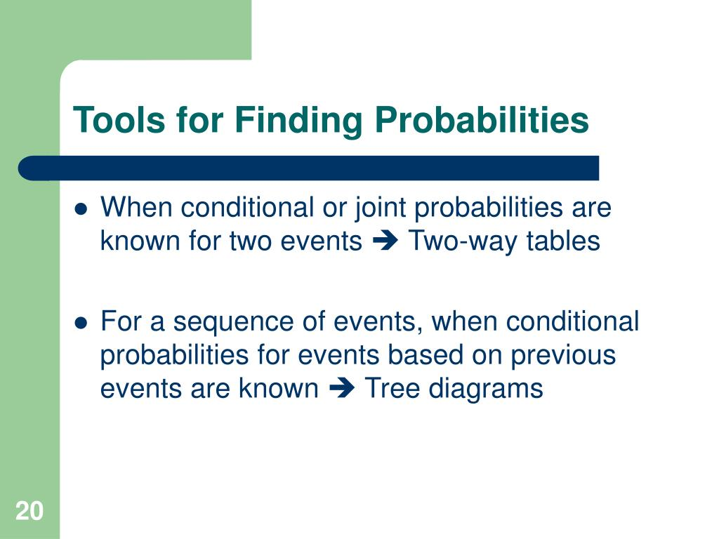 Tools for Finding Probabilities