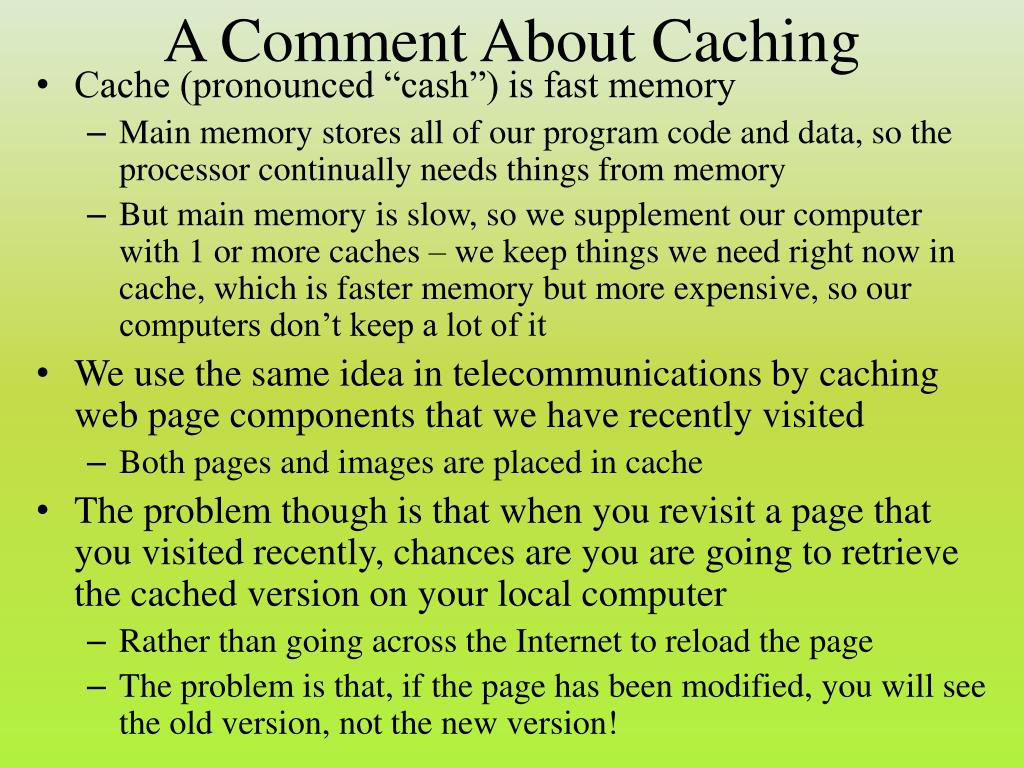 A Comment About Caching
