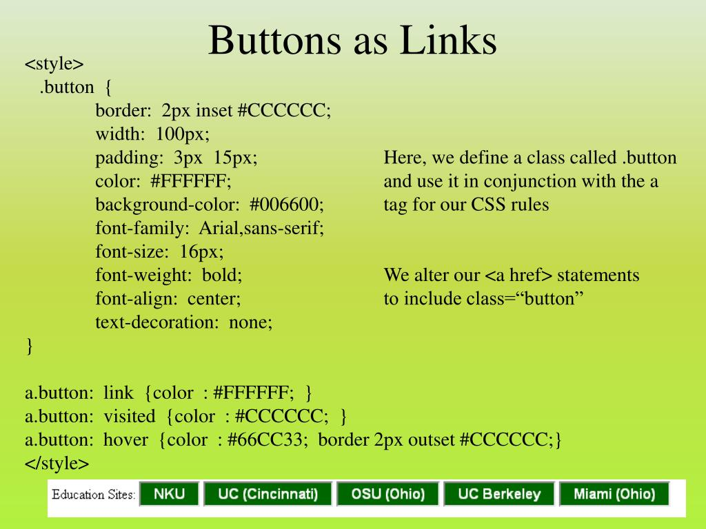 Buttons as Links
