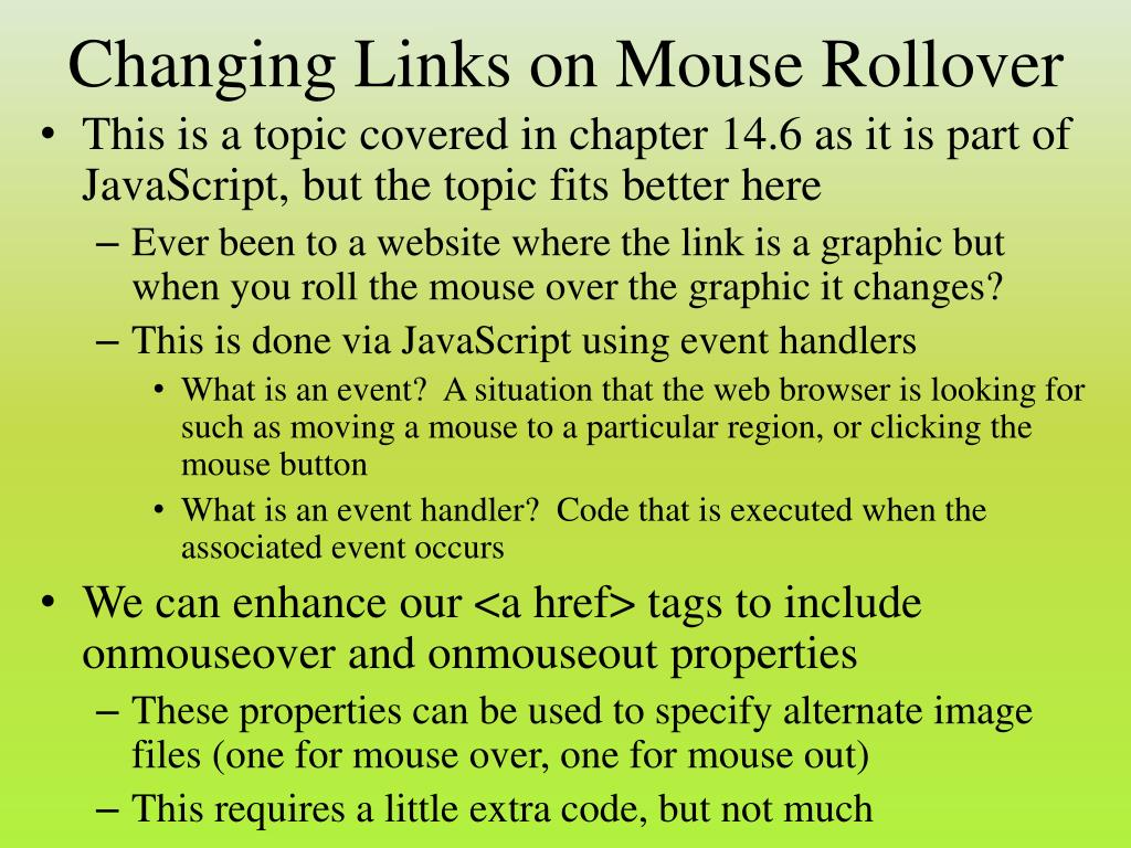 Changing Links on Mouse Rollover