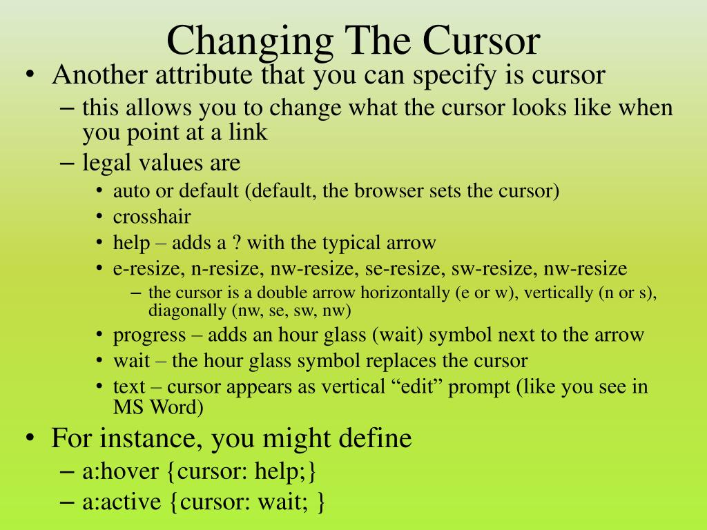 Changing The Cursor