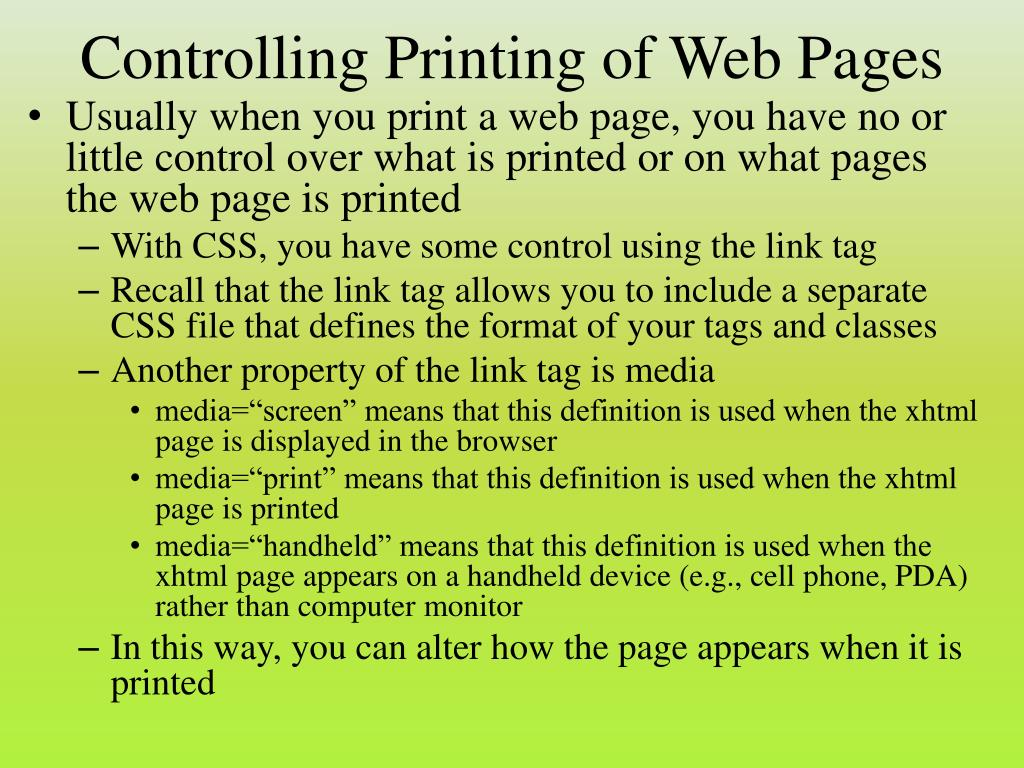 Controlling Printing of Web Pages